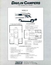 1993 Davlin Campers Model 56 & 656 Pickup Truck Motorhome RV Brochure r3203