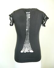 AnM tshirt top destressed Torn sexy cutout Gothic Punk glamour Women Sz S M