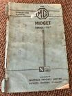 MG TD Midget Series Original Operation Manual by Nuffield Exports