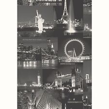 CITY BY NIGHT WALLPAPER BLACK (97670) HOLDEN DECOR NEW YORK LONDON FEATURE WALL