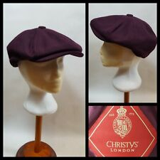 Christys' London Wool Blend Berry Coloured Flat Cap Peaky Blinders Style, Size L