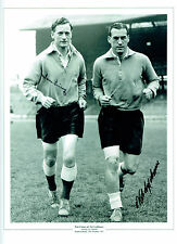 Tom FINNEY & Nat LOFTHOUSE England Signed Autograph16x12 Photo AFTAL COA