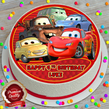 CARS PERSONALISED HAPPY BIRTHDAY 7.5 INCH EDIBLE CAKE TOPPER B-556G