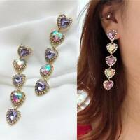 Pink Colourful Crystal Drop Dangle Earrings  Rhinestone EarringsLong Love Heart