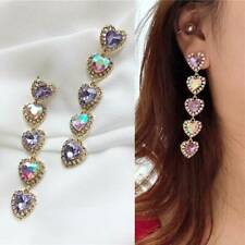 Pink Colourful Crystal Drop Dangle Earrings Long Love Heart  Rhinestone Earrings