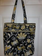 Vera Bradley Handbag Canvas Tote Floral Shoulder Bag Purse Cotton Black