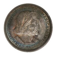 1892 Columbian 50C PCGS Certified MS63 Old Green Label Rattler Holder Toned Coin