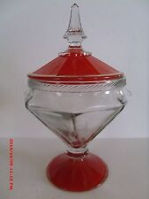 VINTAGE HOCKING ART DECO FOOTED COVERED CANDY DISH ORANGE DECORATED