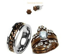 HIS TITANIUM AND HER CHOCOLATE CZ STAINLESS STEEL ENGAGEMENT WEDDING RING SET