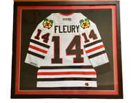 "Rare Theoren ""Theo"" Fleury Signed Chicago Blackhawks CCM Framed Hockey Jersey"