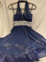Women's City Studio Party Dress Halter Top High Low Rhinestone Accent Navy Size3