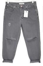 Topshop Boyfriend HAYDEN Grey Loose Slouch RIPPED Crop Jeans Size 12 W30 L32