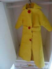 Vintage Pedigree Sindy 1970 Yellow Vinyl Maxi Coat with Belt & Red Poppers VHTF