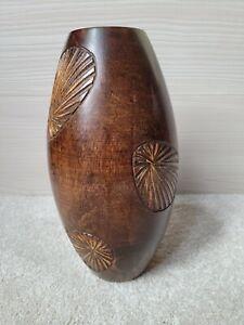 """Wooden Vase Carved 28cm  11"""" Tall Carved"""