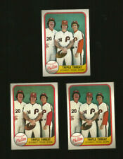 1981 Fleer Baseball Card Triple Threat Schmidt Rose Bowa #645 Phillies Lot (3)
