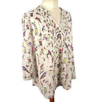 Per Una M&S 14 White Multi Bird Parrot Blouse 3/4 Sleeve Loose Smock Top Summer