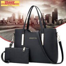 Schwarz Damentasche Leder Handtasche Damen Tasche Tragetasche Schultertasche Neu