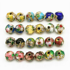 5/10pcs Cloisonne Bead Enamel Round Ball Spacer Loose Floral Metal 6mm 8mm