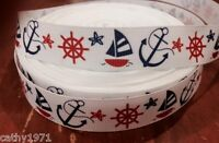 1M Nautical Ship/Anchor/Boat Grossgrain 22mm Hair/Bow Ribbon - Cake Trim & Craft