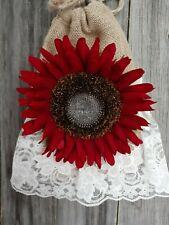 Burlap, lace dollar dance money bag, Boho, hippie, rustic, ivory, sunflower red