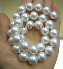 """BIG AAAAA 17""""13-15mm round REAL natural South sea WHITE pearl necklace 14K GOLD"""