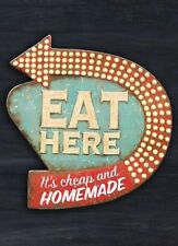 "TIN SIGN ""Eat Here"" Cafe Kitchen Rustic Mancave Wall Decor Eatery Vintage Gift"