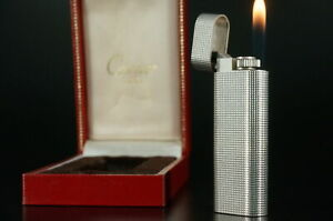 Cartier Lighter Petit pave Silver plated w/Box Working Vintage  #C74