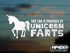 This Car is Powered by Unicorn Farts - 2 - Funny Vinyl Sticker - Chrome Effect!