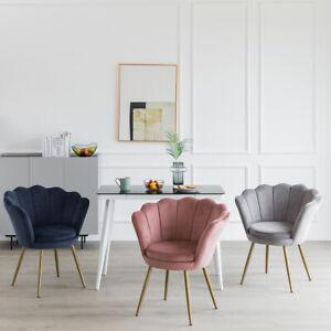 Velvet Petal Back Lotus Tub Chair Scallop Shell Wing Back Armchair Living Room