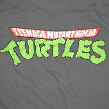 TMNT Logo T-Shirt Large Pixelated 8 Bit Teenage Mutant Ninja Turtles Retro Grey