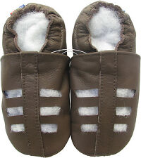 carozoo sandals dark brown 2-3y soft sole leather baby shoes