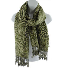 Silver Fever Pashmina Leopard Animal Print Shawl Stylish Scarf Wrap Green Beige