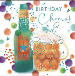 Happy Birthday Male Open Greetings Card Beer Luxury Foil With Verse Insert Cheer