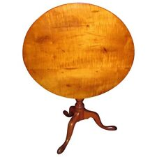 Antique American Tiger Maple Tilt Top Tea Table Circa 1780