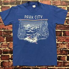 Vintage 80s Park City Utah Ski Snow Tee Mens Size M/L Medium Large T-Shirt Neon