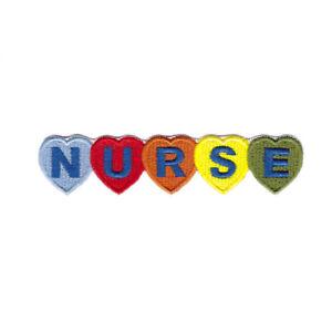 NURSE Iron On Patch - Nurse Hearts text sew on Transfer