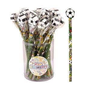 Novelty Football Topper Pencils & Erasers Childrens Kids Boys Party Bag Fillers