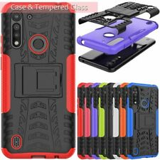 For Motorola Moto G8 Power Lite Shockproof Armor Case Cover + Screen Protector