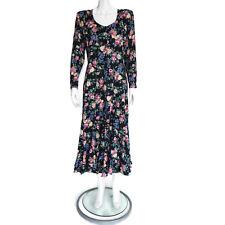Nostalgia Vtg 90's Grunge Floral Long Sleeve Black Pink Roses Maxi Dress M /9835