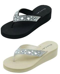 Thomas Calvi Women's Sparkle Flip Flops Summer Wedge Sandals Toe Post Slipper