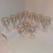 Set of 10 Cut Crystal Goblets With Gold Design - Palais Versailles Tiffin Glass