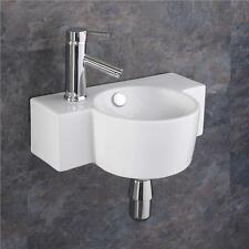 Ceramic 40cm x 28cm Small Sink Space Saving Basin Wall Mounted Sink Bathroom
