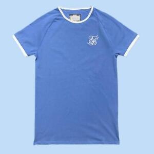 Mens Designer Sik Silk Siksilk King Short Sleeve T Shirt Gym Top Tee Blue Ringer