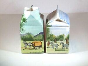 Vtg Ceramic Milk Carton Sugar Bowl & Creamer w/ Horse and Wagon Farm Decoration