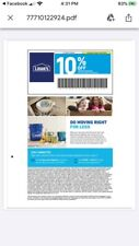 Lowes 10% Off Guaranteed ~ Exp 1/31/2021 Can Be Emailed IN STORE ONLY