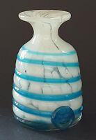 Maltese Mdina white & blue glass vintage Art Deco antique spiral design vase