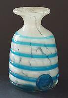 Maltese Mdina white & blue glass vintage Art Deco antique spiral design vase