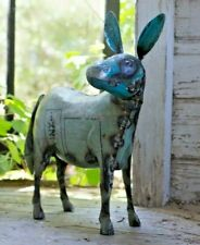 Metal Donkey Yard Art Statue Figurine Garden Porch Barn Decor Recycled Metal
