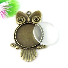 3pcs Vintage Bronze Alloy Owl Look Cameo Base Glass Cover Jewelry Handmade