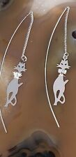 Dangling Cat Earrings with Crystal Collar